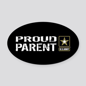U.S. Army: Proud Parent (Black) Oval Car Magnet